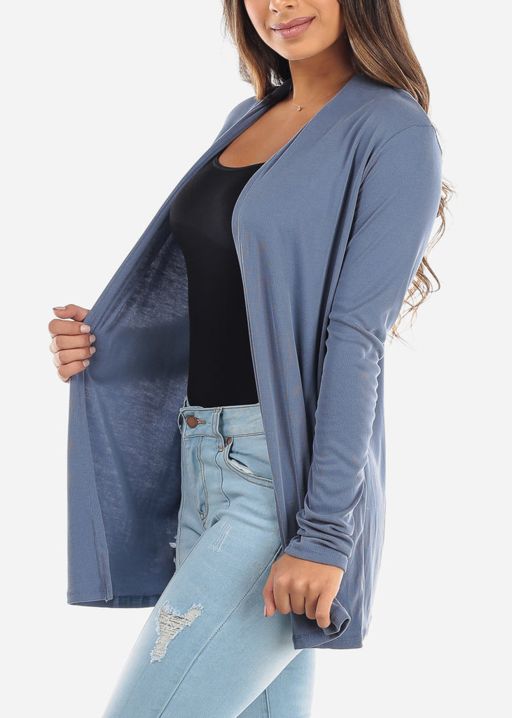 Blue Open Front Cardigan with Pockets BT2332BLU