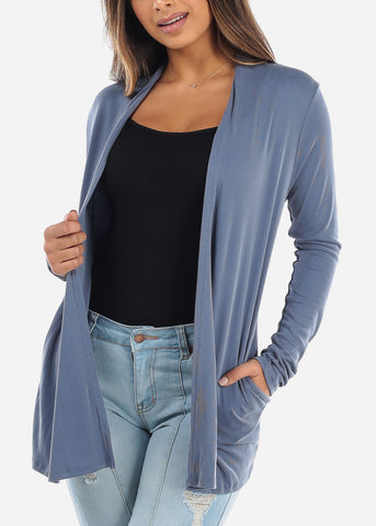 Image of Blue Open Front Cardigan with Pockets BT2332BLU