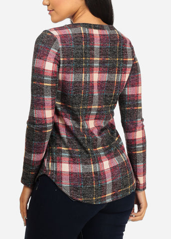Plaid Stretchy Red Top