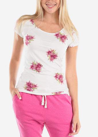 Image of  Women's Junior Casual Summer Trendy Purple Floral Flower Print Short Sleeve White Top