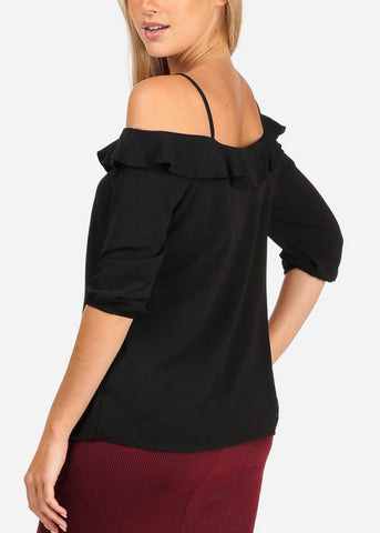 Women's Junior Stylish Casual Going Out Lightweight Cold Shoulder Keyhole Neckline Black 3/4 Sleeve Blouse Top