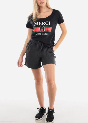 Image of Women's Junior Ladies Casual Going Out Cute Merci Mon Cheri Graphic Print Short Sleeve Round Neckline Black Tshirt