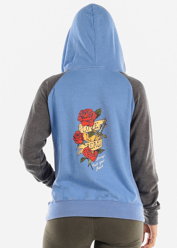 "Blue Graphic Hoodie ""Love Is Real"""