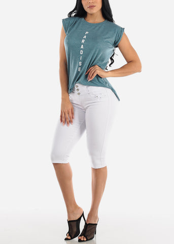 "Heather Teal Graphic Top ""Paradise"""