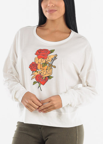 "White Long Sleeve Graphic Top ""Love Is Real"""
