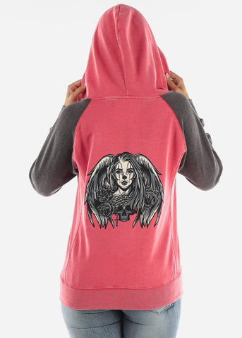 "Red Graphic Hoodie ""Angel Skull"""