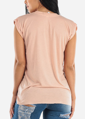 "Peach Graphic Top ""Girls Just Wanna Have Sun"""