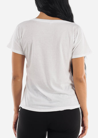 Eyelashes Graphic Round Neck Tee