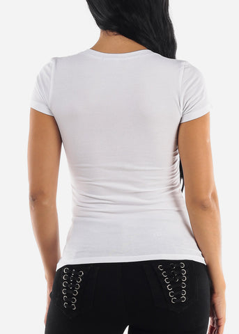 Eyelashes Graphic V-Neck Tee