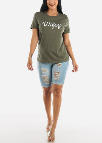 """Wifey"" Olive Top"