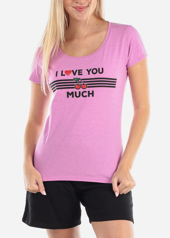 Image of Women's Junior Ladies Casual Going Out I Love You Cherry Much Graphic Print Short Sleeve Round Neck Tshirt