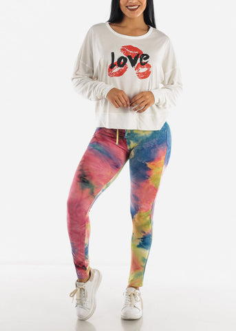 """LOVE"" White Long Sleeve Top"