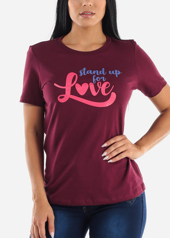 """Stand Up For Love"" Maroon Top"