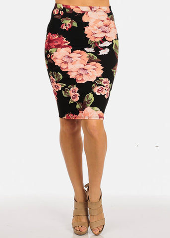 Black Floral Knee Lenght Skirt