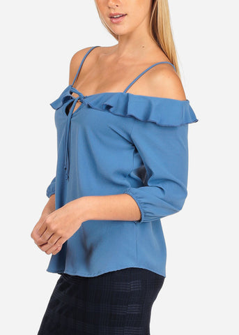 Women's Junior Stylish Casual Going Out Lightweight Cold Shoulder Keyhole Neckline Sky Blue 3/4 Sleeve Blouse Top