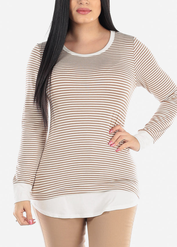 Cream & Brown Striped Tunic Top