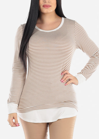 Image of Cream & Brown Striped Tunic Top