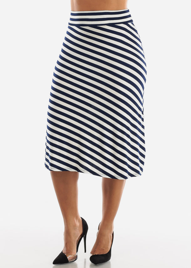 White & Navy Stripe A-Line Skirt