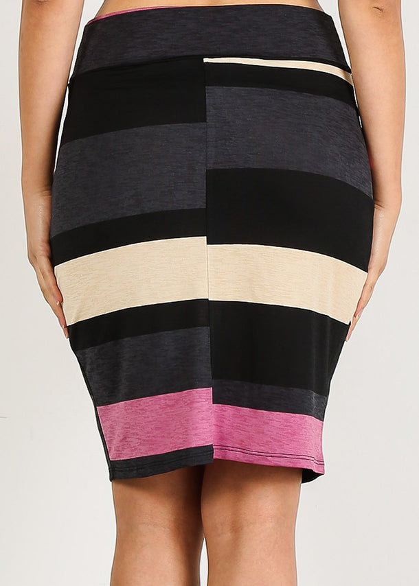 High Rise Multicolor Stripe Skirt