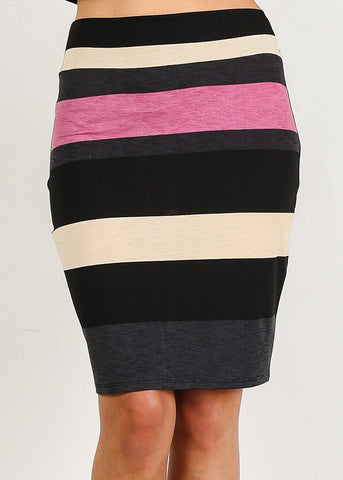 Image of High Rise Stripe Mini Skirt