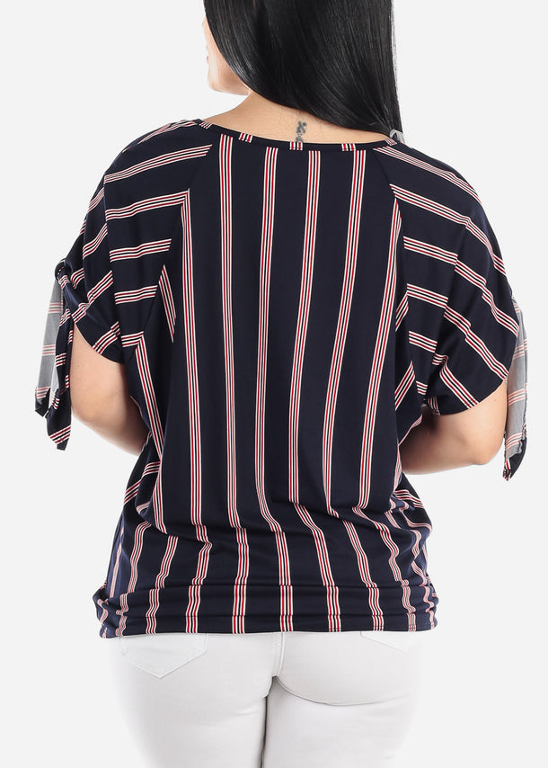 Striped Navy Knot Tie Tunic Top