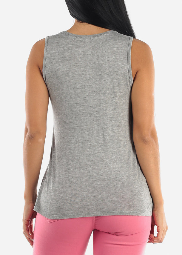 Cute Casual Grey Sleeveless Top