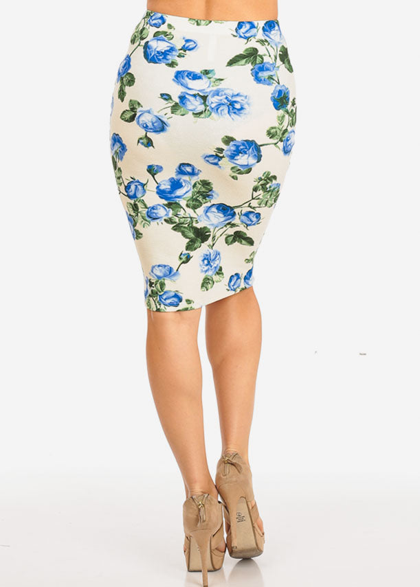 Cream Floral Pencil Midi Skirt