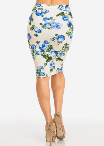 Image of Cream Floral Pencil Midi Skirt