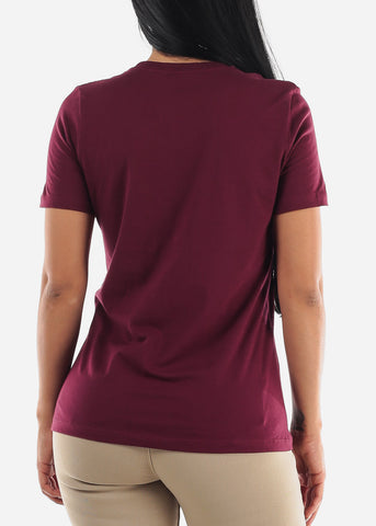"""Hate Less Love More"" Maroon Top"