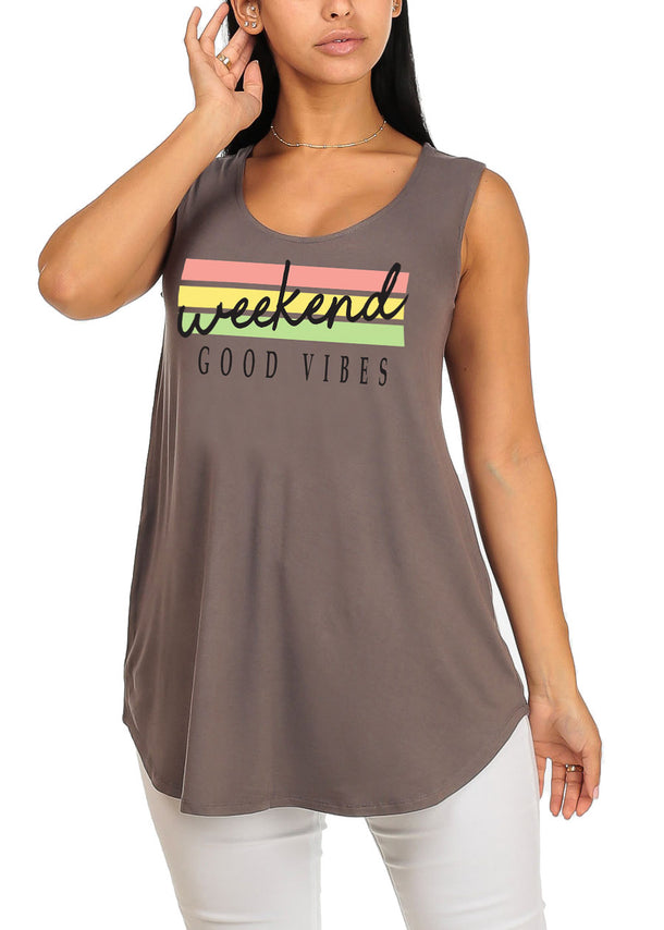 Weekend Good Vibes Grey Sleeveless Graphic Print Stretchy Tank Top Tee