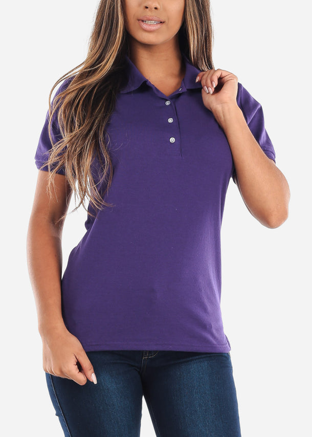 Women's Jerzees Spotshield Purple Shirt