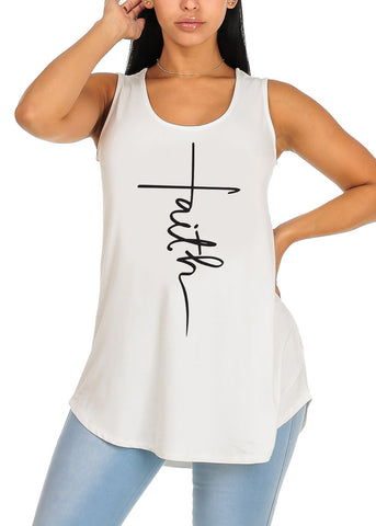 Cute Sleeveless Ivory Super Stretchy Faith Graphic Print Tee Tank Top