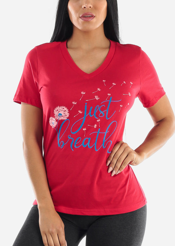 """Just Breathe"" Red Tee"