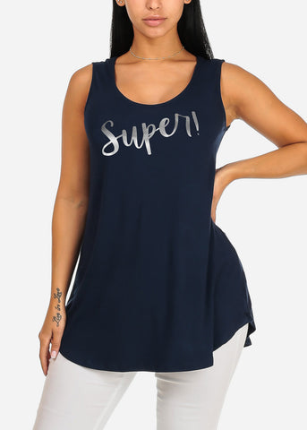 Sleeveless Navy Super Stretchy Super Graphic Print Tee Tank Top