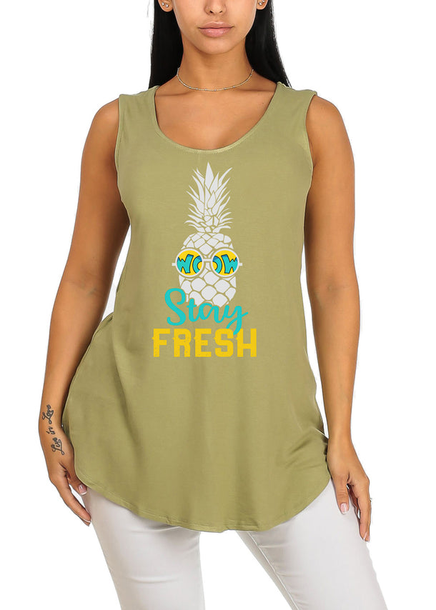 Sleeveless Pineapple Fresh Super Stretchy Graphic Print Tee Tank Top