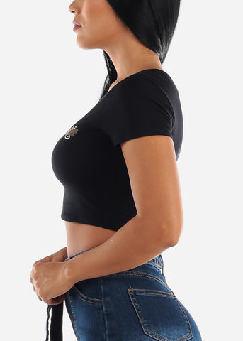 "Black Crop Top ""Holy Chic"""
