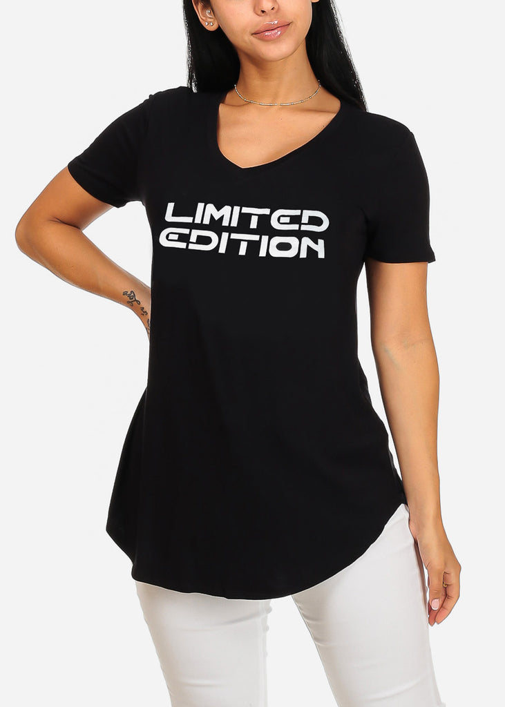 Cute Short Sleeve Super Stretchy Black Limited Graphic Print Tee Top