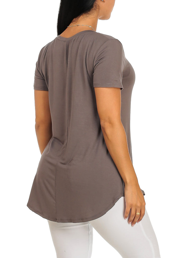 Cute Short Sleeve Super Stretchy Grey Thank you Graphic Print Tee Top
