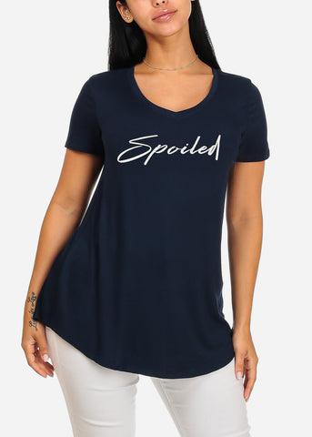 Cute Short Sleeve Super Stretchy Navy Spoiled Graphic Print Tee Top