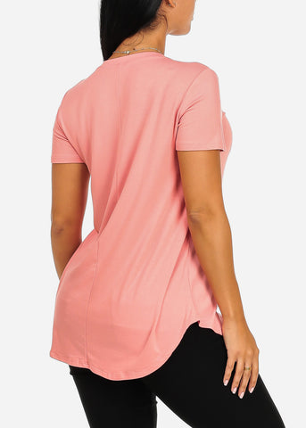 Cute Short Sleeve Super Stretchy Pink Peachy Graphic Print Tee Top