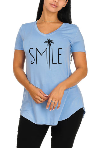 Cute Short Sleeve Super Stretchy Blue Smile Graphic Print Tee Top