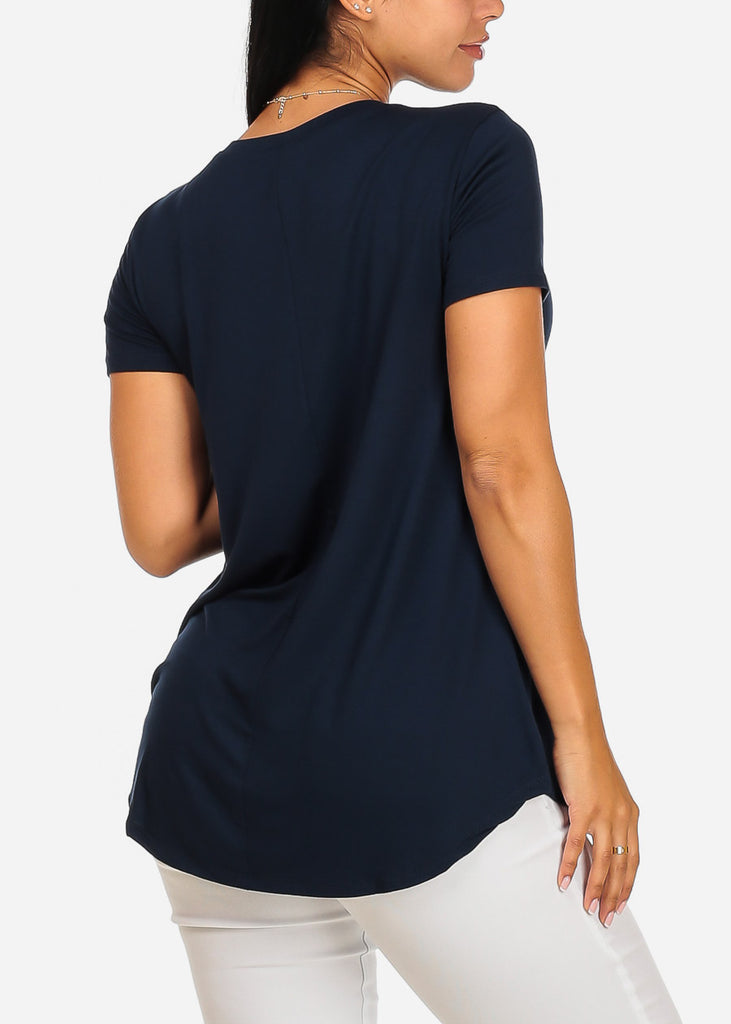 Cute Short Sleeve Super Stretchy Navy Perfect Graphic Print Tee Top