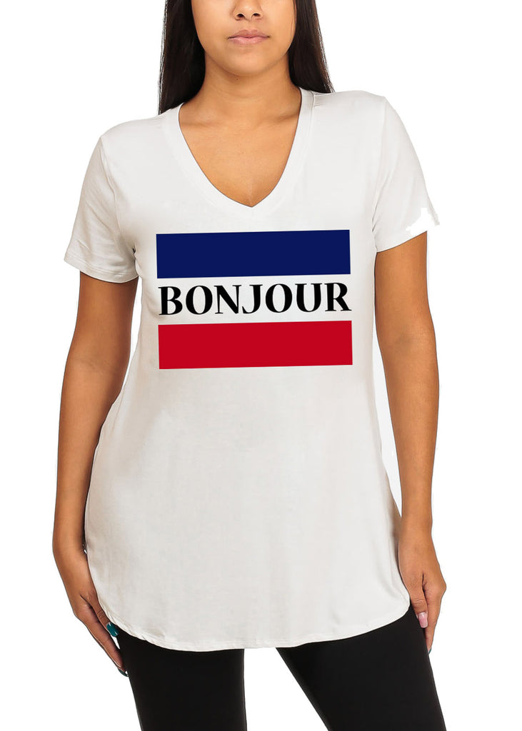 Cute Short Sleeve Super Stretchy Ivory Bonjour Graphic Print Tee Top