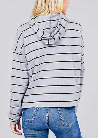 "Grey Stripe Graphic Sweatshirt ""Chin Up Princess"""
