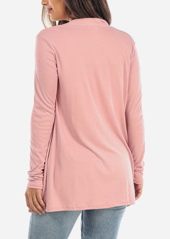 Pink Open Front Cardigan with Pockets BT2332ROSE