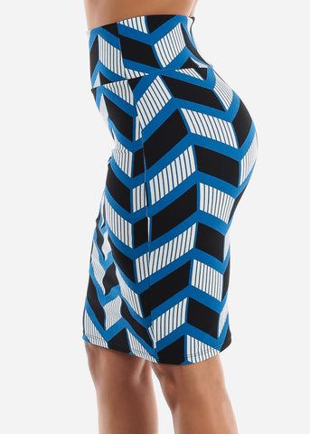 Image of Zig Zag Printed Blue Pencil Skirt