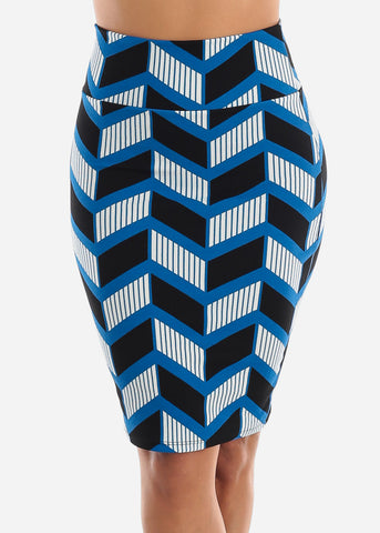 Zig Zag Printed Blue Pencil Skirt