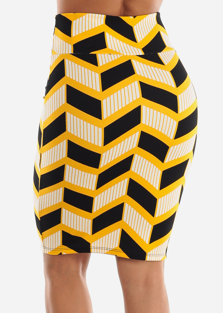 Zig Zag Printed Yellow Pencil Skirt