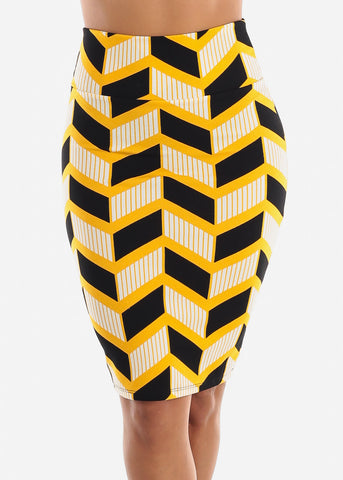 Image of Zig Zag Printed Yellow Pencil Skirt