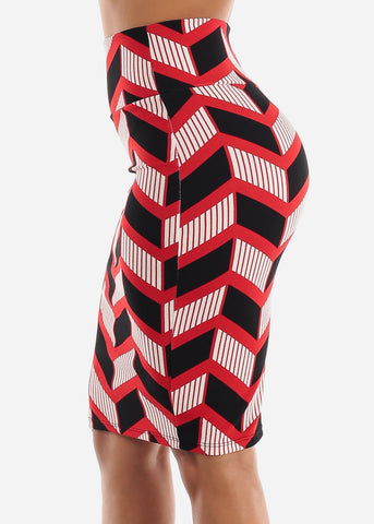 Zig Zag Printed Red Pencil Skirt